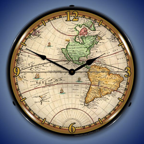 World Map of 1730 Lighted Wall Clock 14 x 14 Inches