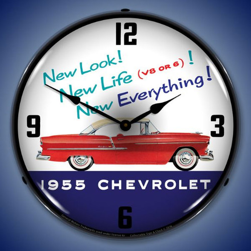 1955 Chevrolet New Look Lighted Wall Clock 14 x 14 Inches