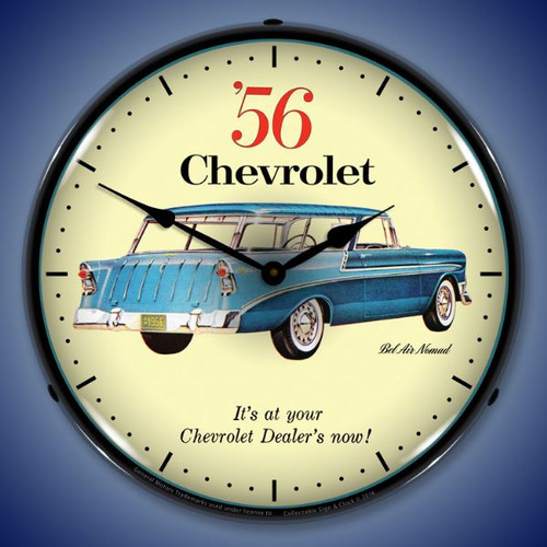 1956 Chevrolet Nomad Lighted Wall Clock 14 x 14 Inches