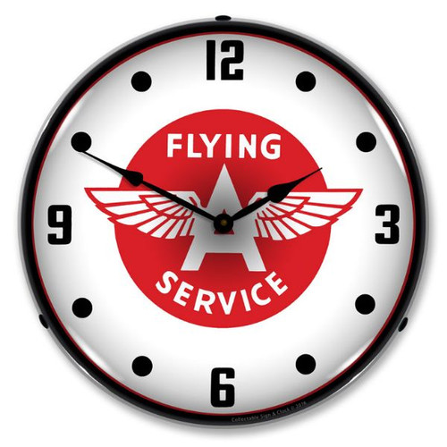 Flying A Service Lighted Wall Clock 14 x 14 Inches