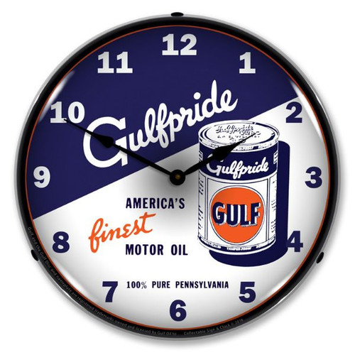 Gulfpride Motor Oil 2 Lighted Wall Clock 14 x 14 Inches
