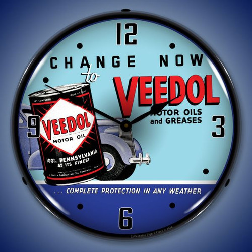 Veedol Oil and Grease Lighted Wall Clock Wall Clock 14 x 14 Inches