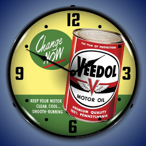Veedol Change Oil Now Lighted Wall Clock 14 x 14 Inches