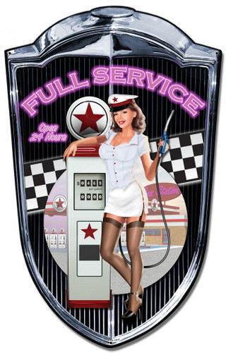 Grill Metal Sign Gas Pump Pinup Girl 24 x 36 Inches