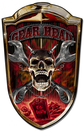 Grill Metal Sign Gear Head 24 x 36 Inches