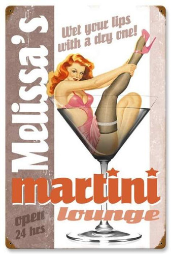 Retro Martini Lounge  - Pin-Up Girl Metal Sign - Personalized