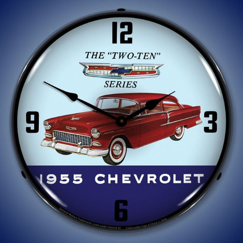 1955 Chevrolet Two Ten Lighted Wall Clock 14 x 14 Inches