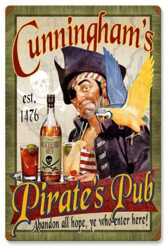 Retro Pirates Pub Metal Sign - Personalized 16 x 24 Inches