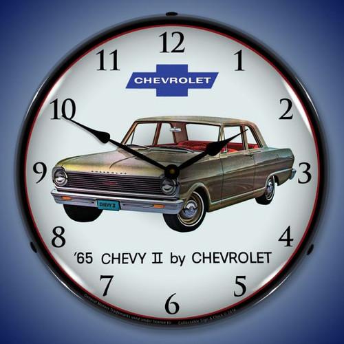 1965 Chevy II Nova Lighted Wall Clock 14 x 14 Inches
