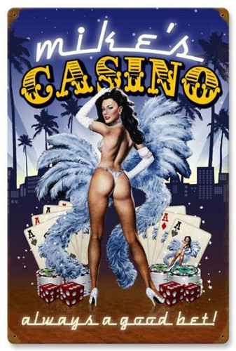 Retro Casino  - Pin-Up Girl Metal Sign - Personalized 16 x 24 Inches