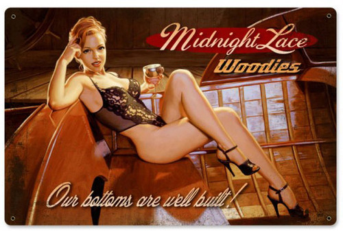 Midnight Lace Pinup Girl Metal Sign 36 x 24 Inches