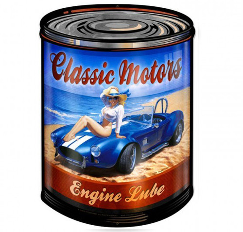 Classic Motor Cars  Pin Up Girl Metal Sign 28 x 40 Inches