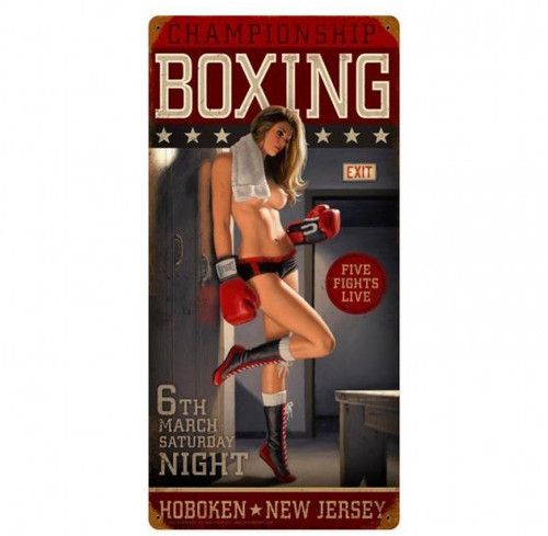 Championship Boxing Pinup Girl Metal Sign 12 x 24 Inches
