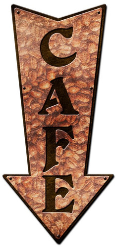 3-D Layered Arrow Cafe Metal Sign 12 x 24 Inches