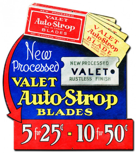 Valet Auto Strop Blades Metal Sign 15 x 20 Inches