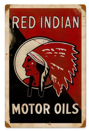 Red Indian Motor Oils Metal Sign 24 x 36 Inches