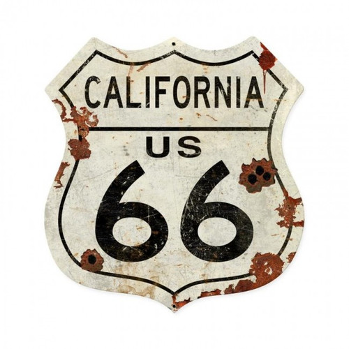California US 66 Metal Sign  28 x 28 Inches