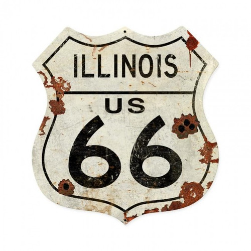Illinois US 66 Metal Sign  28 x 28 Inches