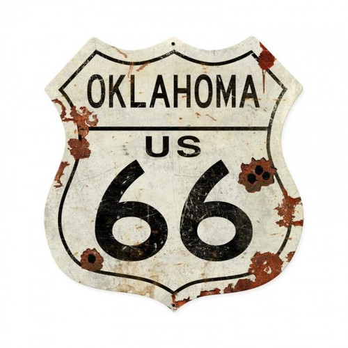 Oklahoma US 66 Metal Sign  28 x 28 Inches