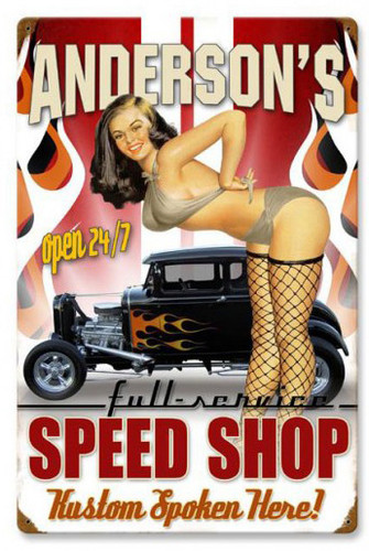 Speed Shop Metal Sign - Personalized 16 x 24 Inches