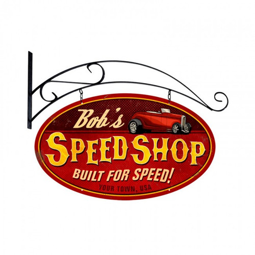 Speed Shop Oval Metal Sign - Personalized 24 x 14 Inches