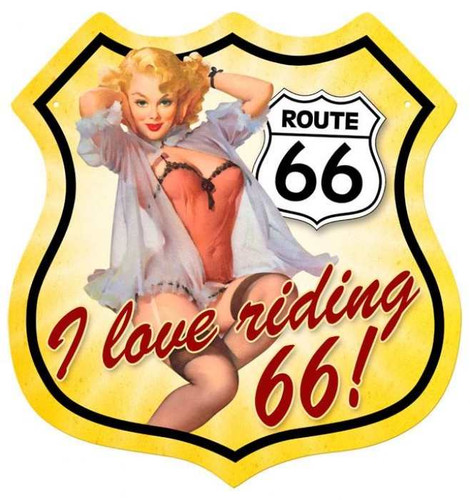 Retro Route 66 Pinup Shield  Metal Sign 15 x 15 Inches