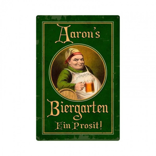 German Beer Garden Metal Sign -  Personalized 12 x 18 Inches