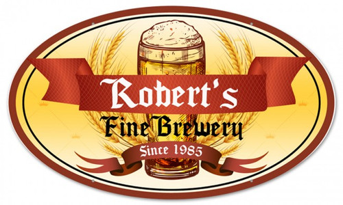 Fine  Brewery Oval Metal Sign - Personalized 24 x 14 Inches