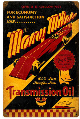 Many Miles Oil Metal Sign 18 x 12 Inches