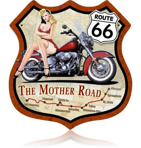 Retro Route 66  Pinup Bike Shield  Metal Sign 15 x 15 Inches