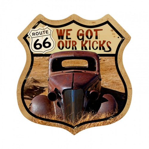 Route 66 Rusty Shield Metal Sign 15 x 15 Inches