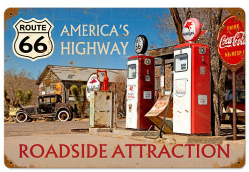 Americas Highway Route 66 Metal Sign  18 x 12 Inches
