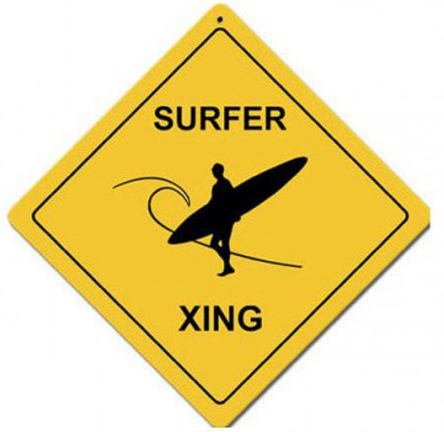 Surfer Xing Metal Sign 12 x 12 Inches