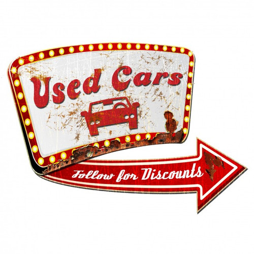 Used Car 3-D Metal Sign 24 x 24 Inches