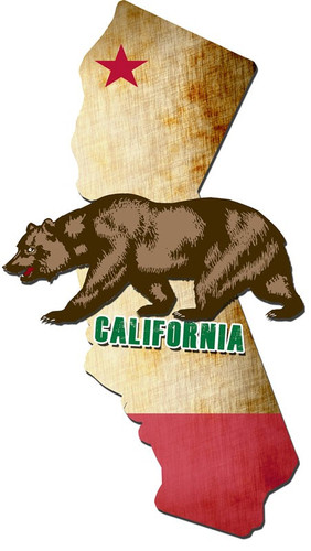 3-D California Bear Metal Sign 18 x 32 Inches