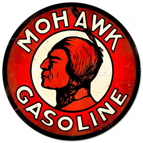 Mohawk Gasoline Round Metal Sign 14 x 14 Inches