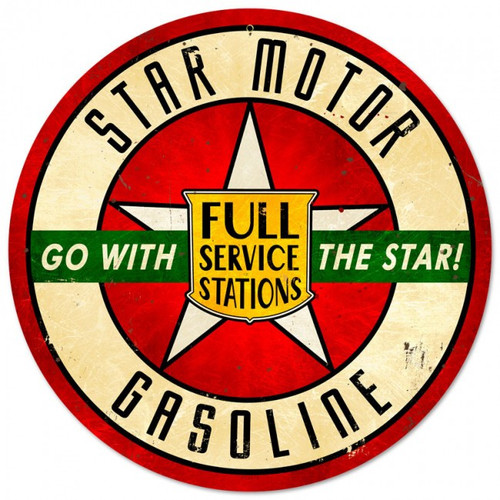 Star Motor Gasoline Round Metal Sign 14 x 14 Inches