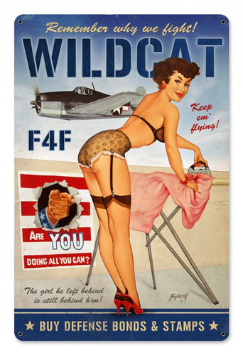 Wildcat F4F Pinup Girl Metal Sign 18 x 12 Inches