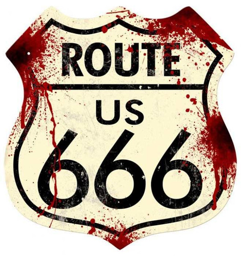 Retro Route 666 Shield Metal Sign 15 x 15 Inches
