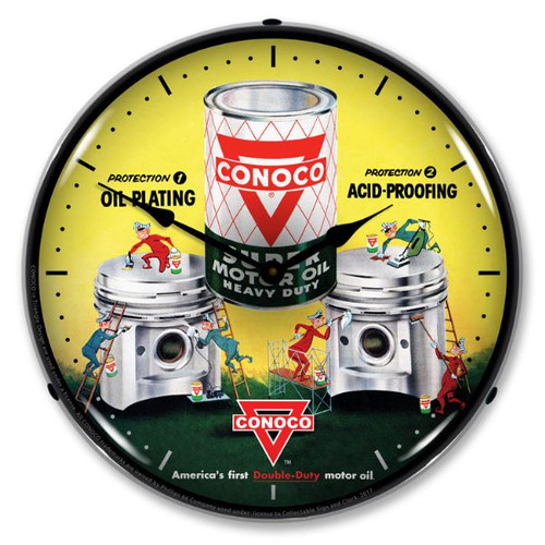 Lighted Conoco Motor Oil Lighted Wall Clock 14 x 14 Inches