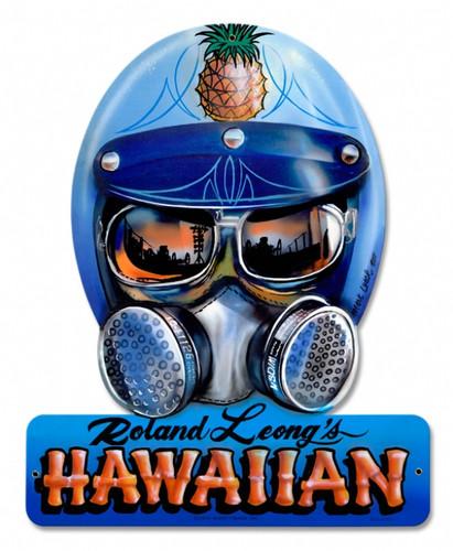 Retro Roland Hawaiin Helmet Metal Sign 15 x 12 Inches