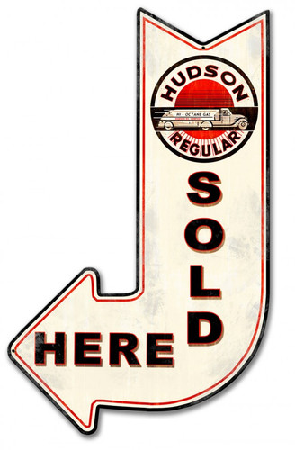 Hudson Sold Here Arrow Metal Sign 15 x 24 Inches