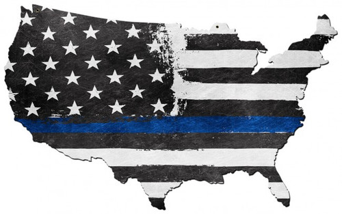 USA Map Thin Blue Line Metal Sign 35 x 21 Inches