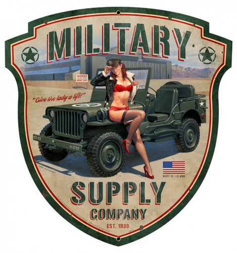 Military Supply Shield Metal Sign 23 x 24 Inches