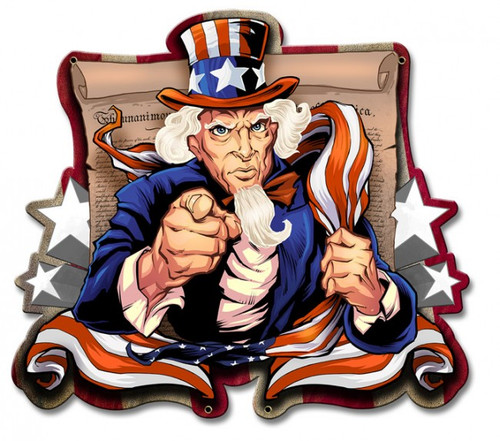 Uncle Sam Patriot Metal Sign 18 x 17 Inches