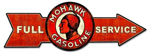Full Service Mohawk Gasoline Arrow Metal Sign 32 x 11 Inches