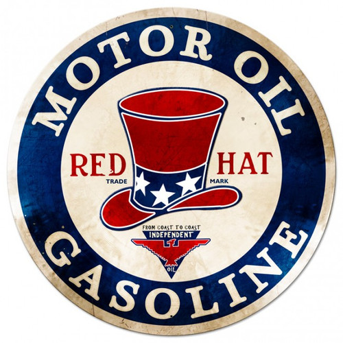 RED Hat Gasoline Round Metal Sign 42 x 42 Inches
