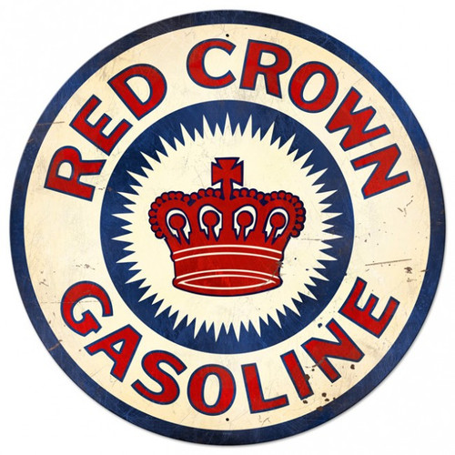 Red Crown Gas XL Round Metal Sign 42 x 42 Inches