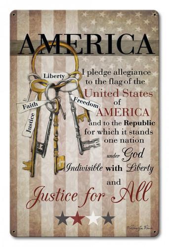 America Pledge Of Allegiance Metal Sign  12 x 18 Inches