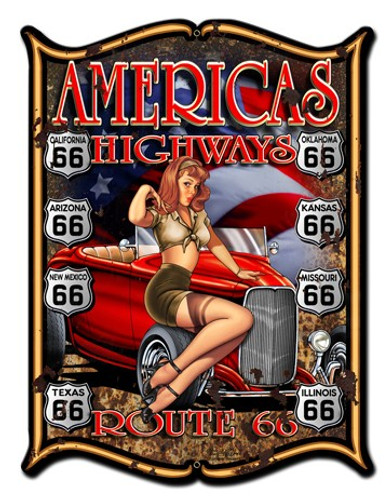 America's Highways Pinup Girl Metal Sign 18 x 24 Inches